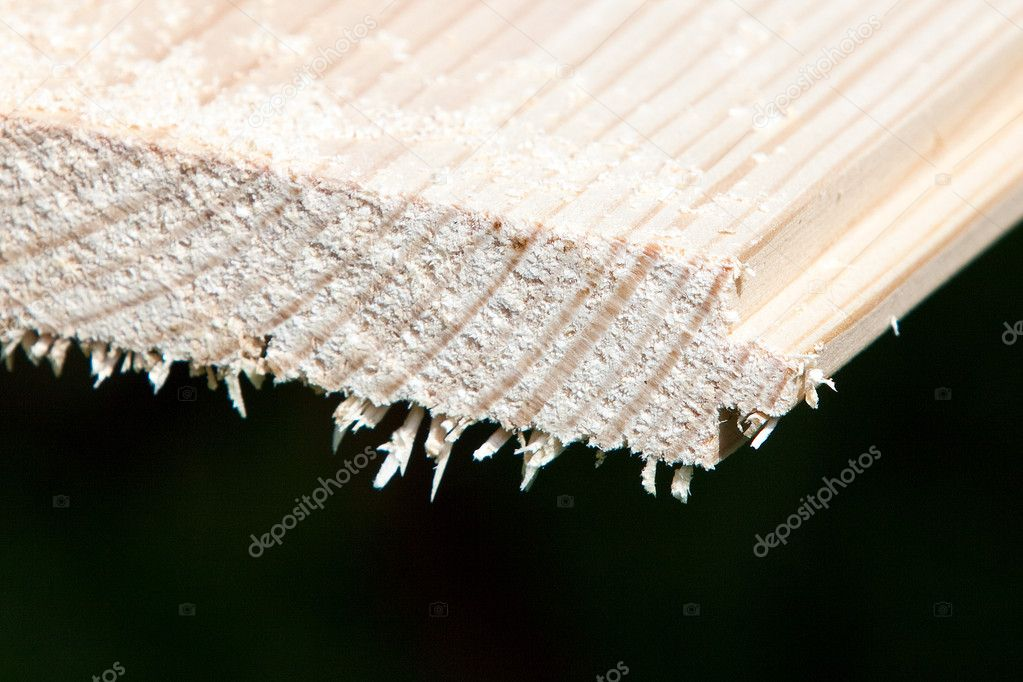 Sawing wood plank. horizontal closeup shot  — Stock Photo #3178473