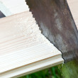 Wood plank sawing — Stock Photo