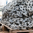 Stock Photo: Anchor chain heap on wood boards
