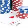 Royalty-Free Stock Photo: Poker chip stacks and two aces