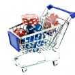 Stock Photo: Color poker chips in shopping trolley