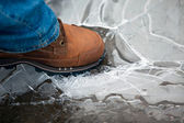 Men leg in shoe crushing thin ice — Stock Photo