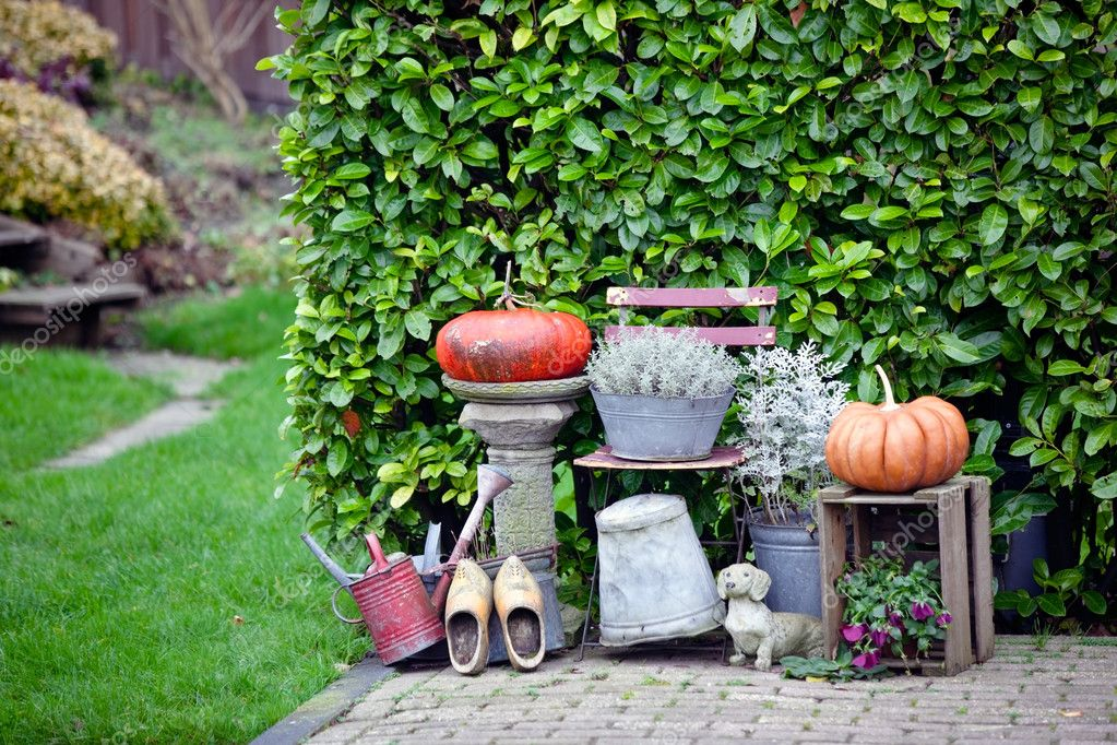 Garden thanksgiving and halloween decoration. horizontal shot — Stock Photo #3869364