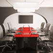 Conference room with lcd and laptops 3d — Stock Photo