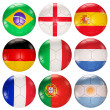 Stock Photo: Soccer balls flags top ranked countries