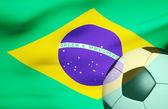 Soccer ball over the Brazil flag 3d — Stock Photo