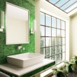Bathroom with big window interior 3d — Stock Photo #3191201