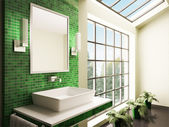 Bathroom with big window interior 3d — Stockfoto