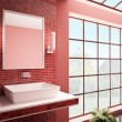Red bathroom interior 3d render — Stock Photo