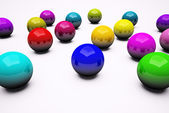 Multi colored chrome balls background 3d — Stock Photo