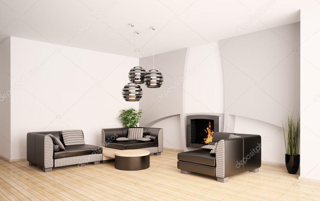 현대 거실 벽난로 인테리어 3d — 스톡 사진 © scovad #3636651