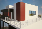 Modern private house exterior 3d — Stock Photo