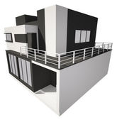 Modern house exterior isolated over white 3d — Stock Photo