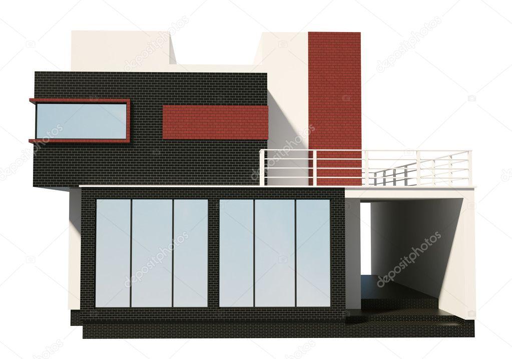 Devant de maison moderne ext rieur 3d render for Exterieur maison 3d