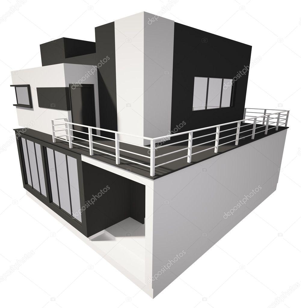 Esterno casa moderna isolato sopra 3d bianco — foto stock © scovad ...
