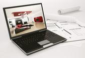 Portatile e blueprint dell'alloggiamento del progetto 3d — Foto Stock