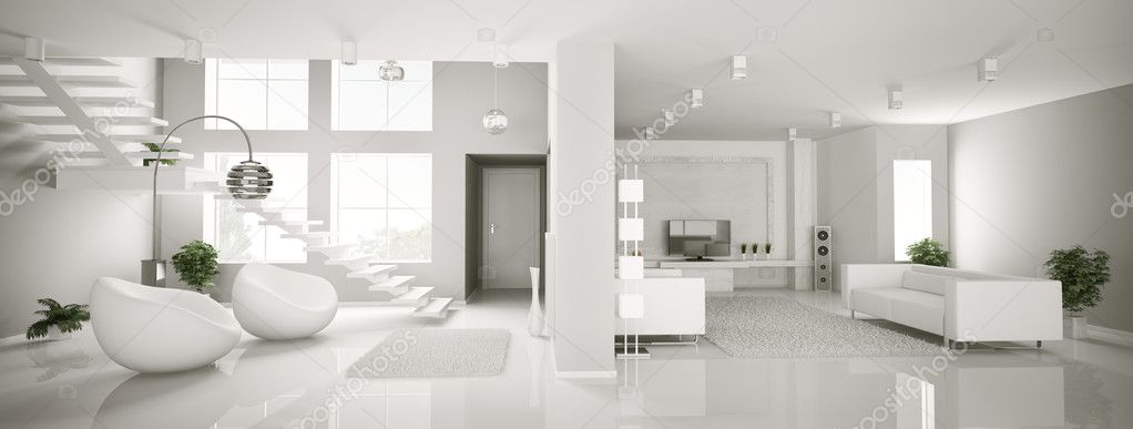 White apartment interior panorama 3d render  Stock Photo #3722668