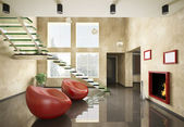 Interior of room with glass staircase and fireplace 3d — Stock Photo