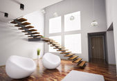 Modern interior with white armchairs and staircase 3d — Stock Photo