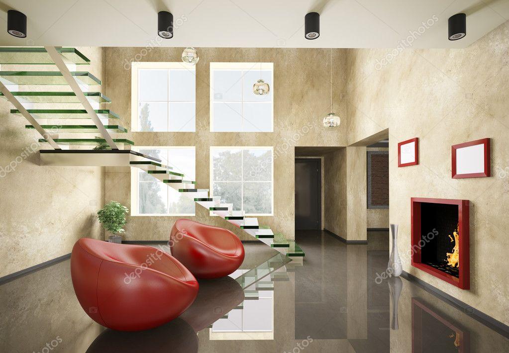 Interieur des Zimmers mit Glas-Treppe und Kamin 3d — Stockfoto ...