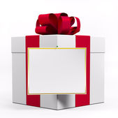 White gift box with red ribbon 3d — Stock Photo