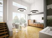 Современная кухня интерьер 3d — Стоковое фото