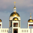 Golden copes of Kiev church — Stock Photo