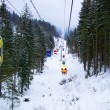 Lift in the mountains for skiing in wint — Foto de Stock