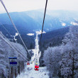 Lift in the mountains for skiing in wint — ストック写真