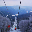 Lift in the mountains for skiing in wint — Foto Stock