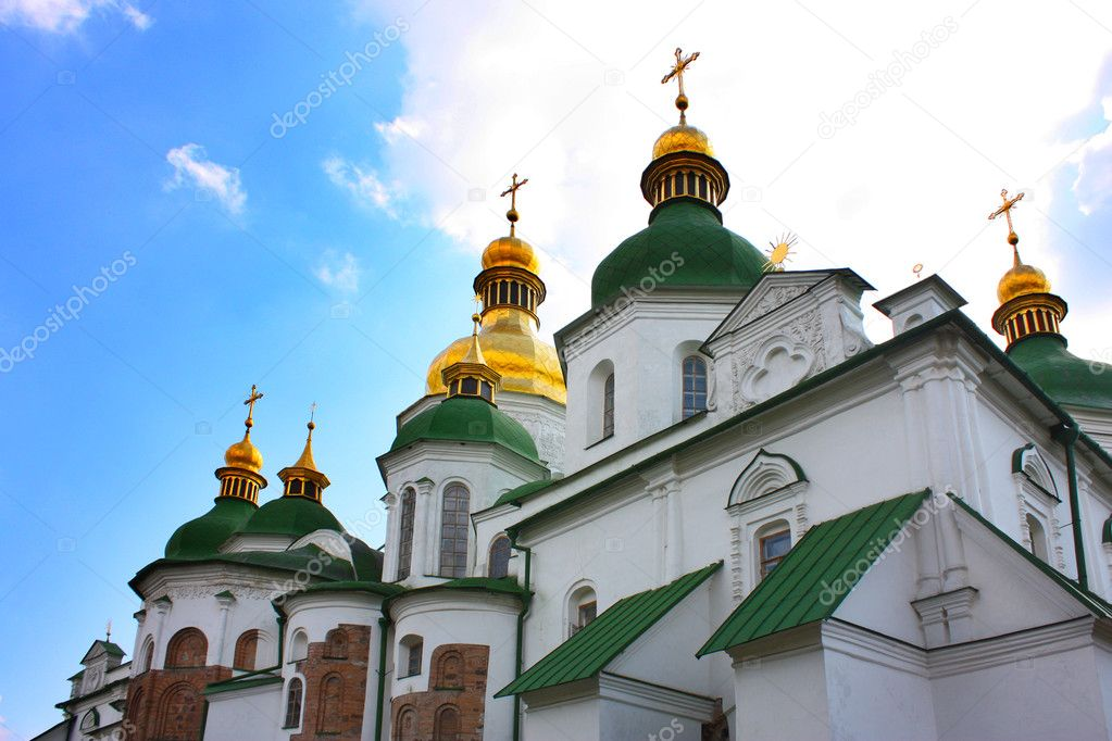 St Sophia Cathedral under sky taken in Kiev, Ukraine  Stock Photo #3515834