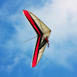 Stock Photo: Hang glider flying in mountains