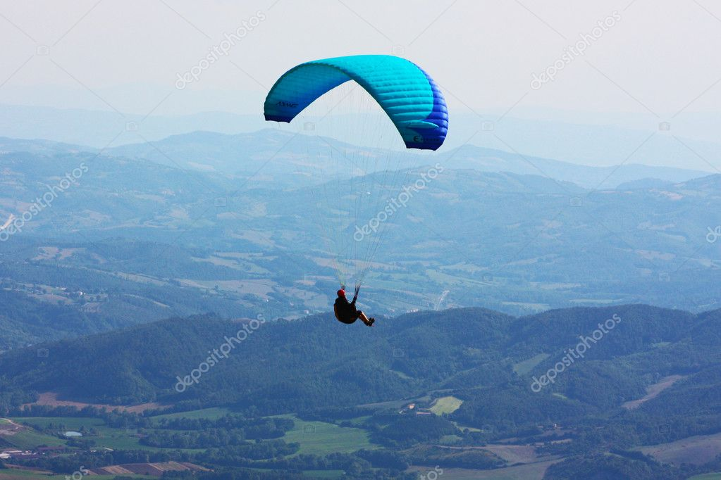 Para-glider in the alps, Slovenia   Stock Photo #3730167