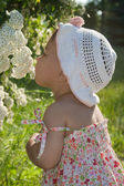 Child enjoys the scent of flowers — Stock Photo