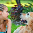 Young girl and her friend a dog — Стоковое фото