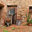 The old brick house with cacti and truck — Stock Photo