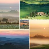 Collage Scenic view of typical Tuscany — Stock Photo