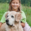 Little girl and her beloved dog — Stock Photo #3823297