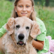 Little girl and her beloved dog — Stock Photo #3823305