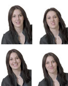 Four emotions of young lady — Stock Photo