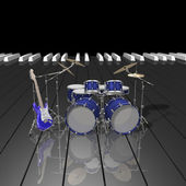 Drum kit and guitar on a piano keys — Stock Photo
