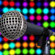 Microphones on stage — Stock Photo