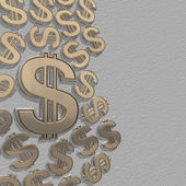 3d dollars on a grey background — Stock Photo