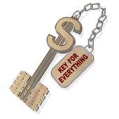 3d klucz dolar na białym tle na białym tle — Zdjęcie stockowe