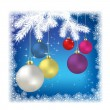 Christmas balls and snowflakes on a white background — Stock Vector