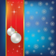 Stock Vector: Christmas vector background nacreous balls and snowflakes