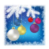 クリスマス ボールと白い背景の上の雪 — ストックベクタ