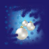 Weihnachtskugel und schneeflocken auf blauem hintergrund — Stockvektor