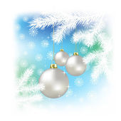 Christmas balls and snowflakes on a blue background — Stock Vector