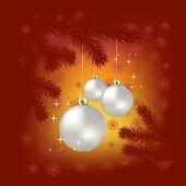 Kerstballen en sneeuwvlokken op een rode achtergrond — Stockvector